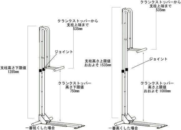 CS-650サイズ高さ調整域説明図