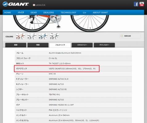 クロスバイクのspec_sheet1